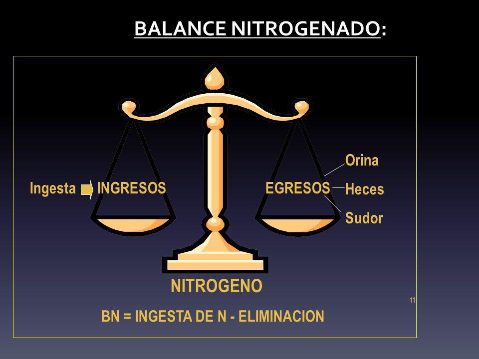 BN = INGESTA DE N - ELIMINACION