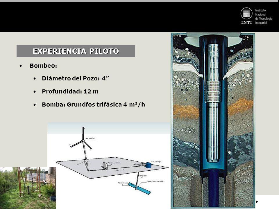 EXPERIENCIA PILOTO Bombeo: Diámetro del Pozo: 4 Profundidad: 12 m