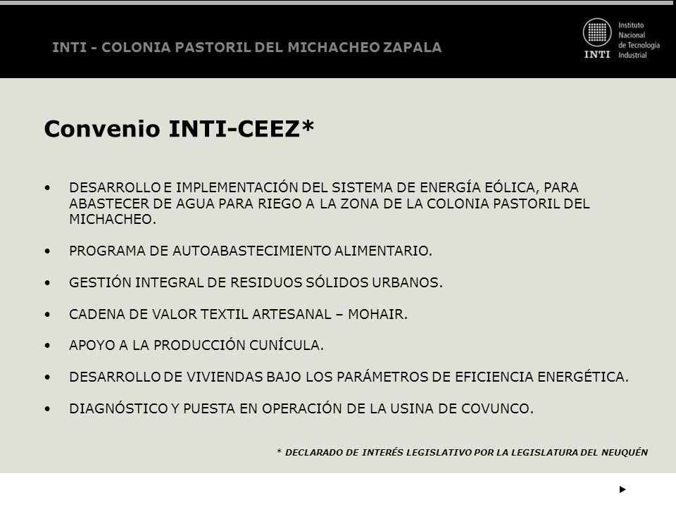 Convenio INTI-CEEZ* INTI - COLONIA PASTORIL DEL MICHACHEO ZAPALA