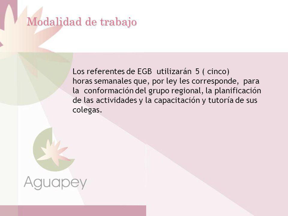 Modalidad de trabajo Los referentes de EGB utilizarán 5 ( cinco)