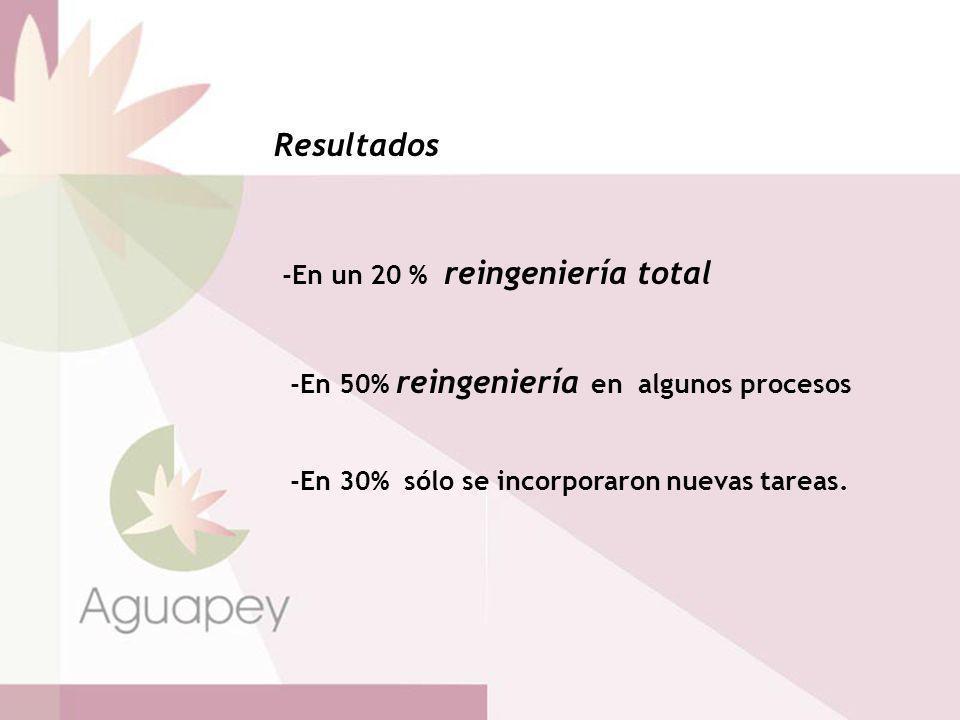 Resultados -En un 20 % reingeniería total
