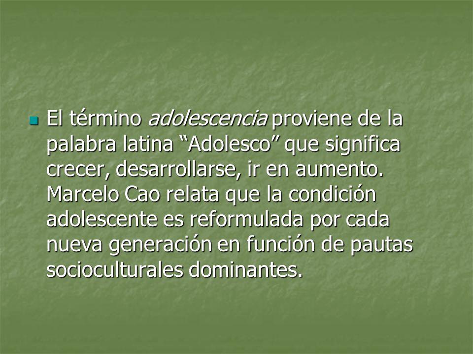 El término adolescencia proviene de la palabra latina Adolesco que significa crecer, desarrollarse, ir en aumento.