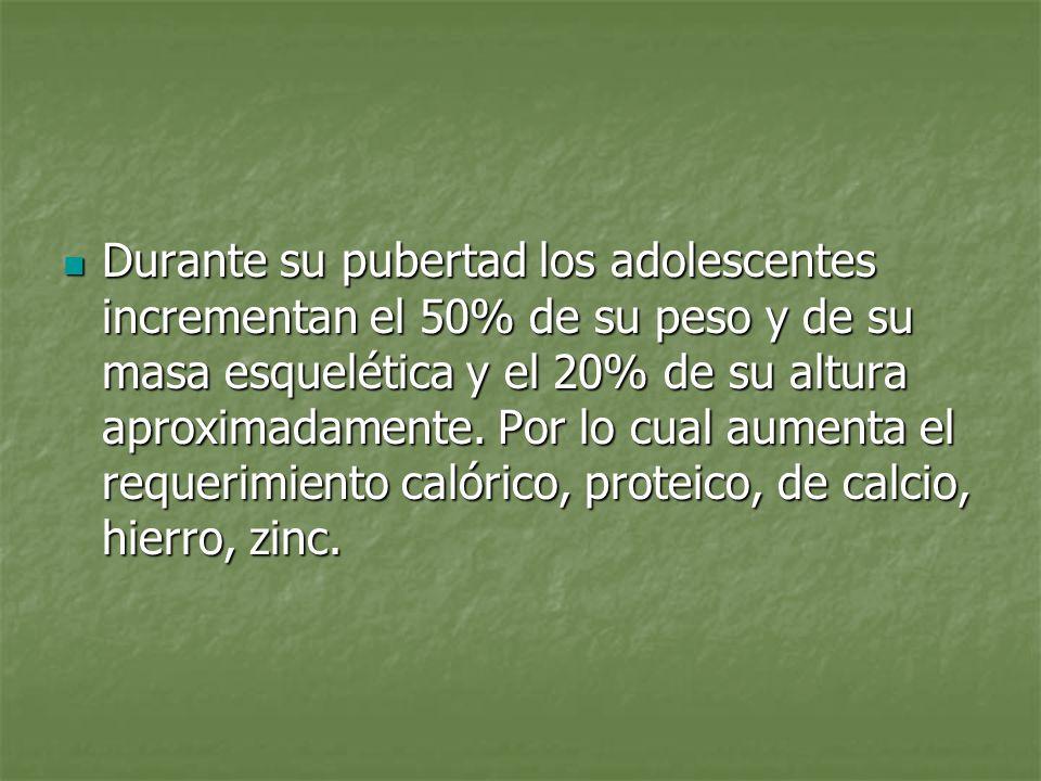 Durante su pubertad los adolescentes incrementan el 50% de su peso y de su masa esquelética y el 20% de su altura aproximadamente.