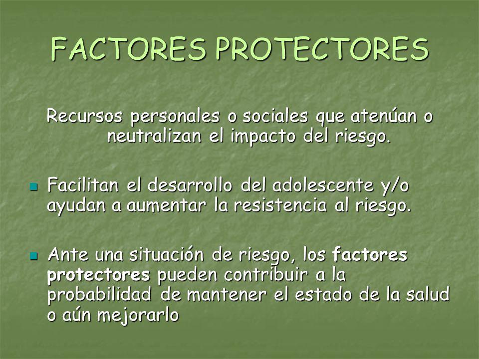 FACTORES PROTECTORES Recursos personales o sociales que atenúan o neutralizan el impacto del riesgo.