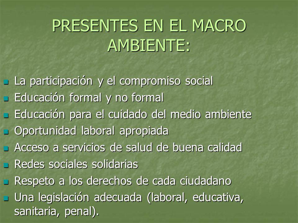 PRESENTES EN EL MACRO AMBIENTE: