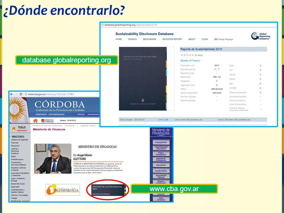 ¿Dónde encontrarlo database.globalreporting.org www.cba.gov.ar