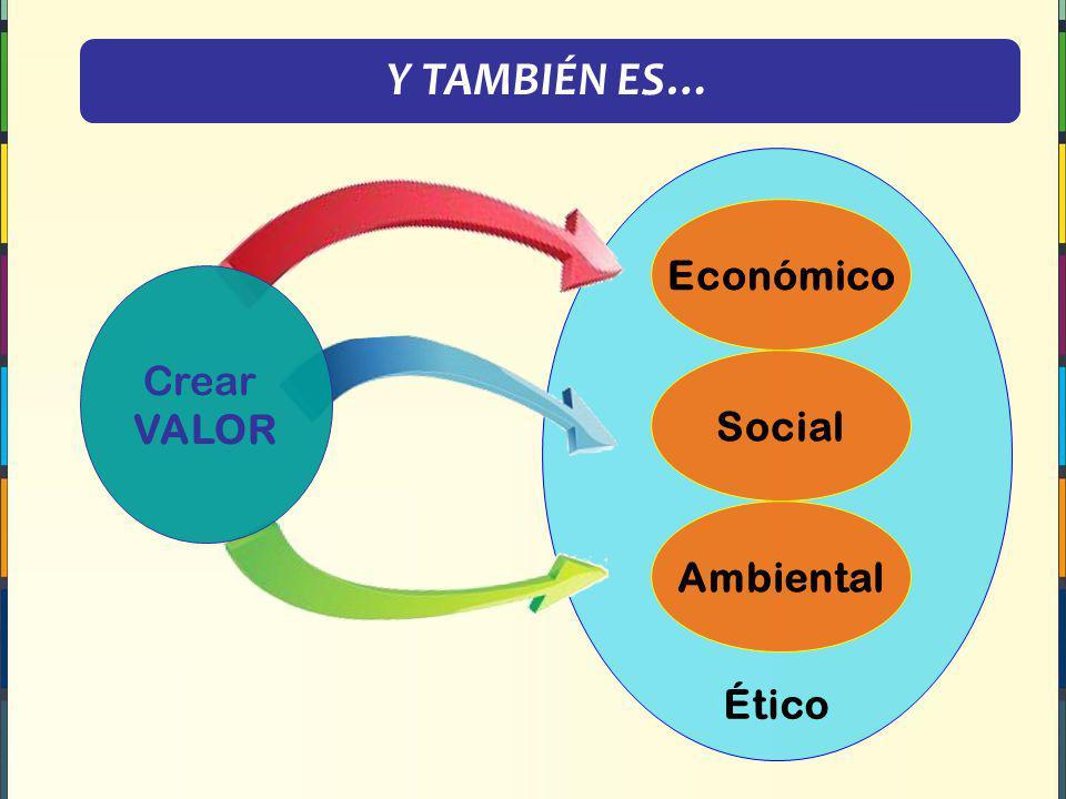 Y TAMBIÉN ES… Ético Económico Crear VALOR Social Ambiental