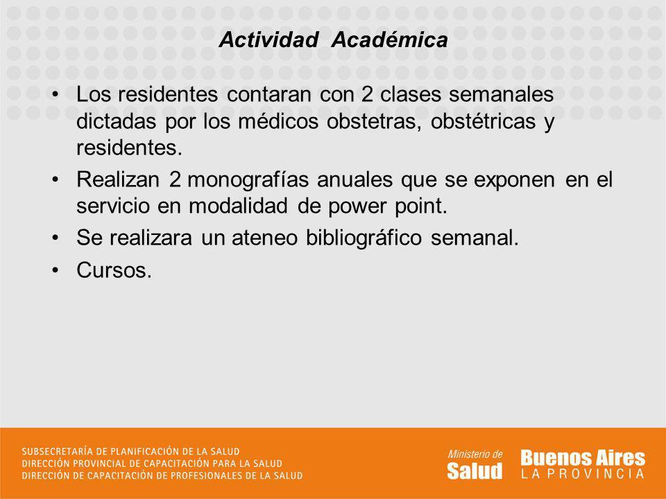 Actividad Académica Los residentes contaran con 2 clases semanales dictadas por los médicos obstetras, obstétricas y residentes.