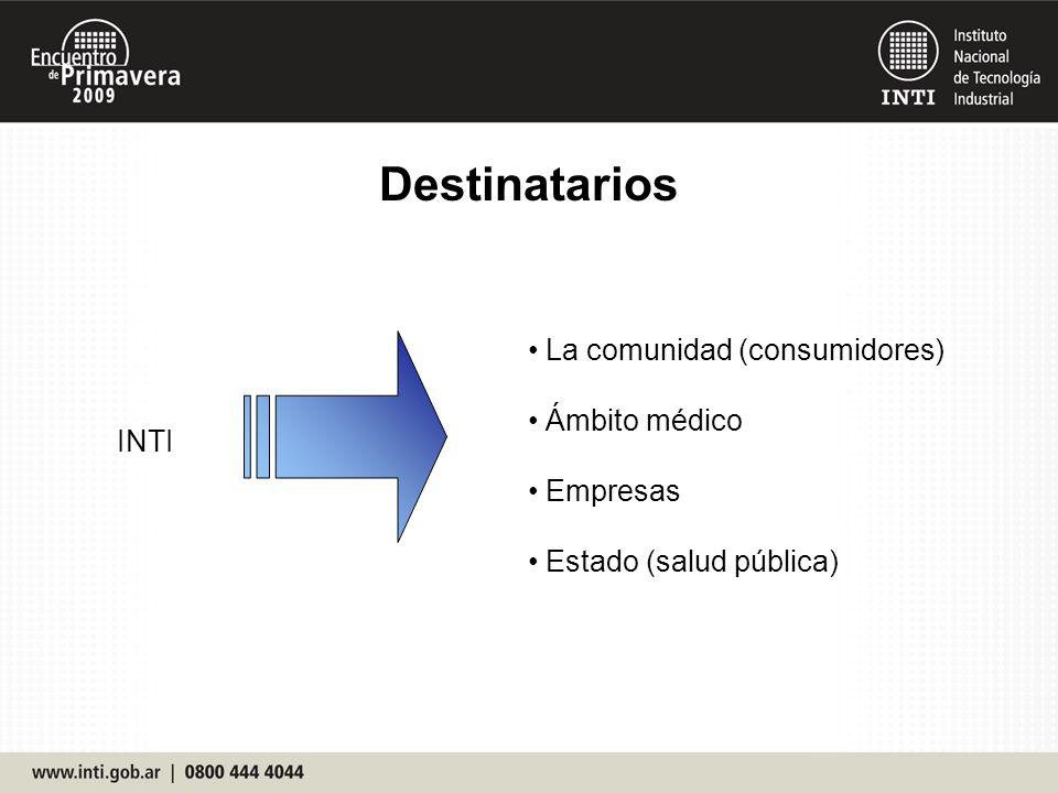 Destinatarios La comunidad (consumidores) Ámbito médico Empresas INTI