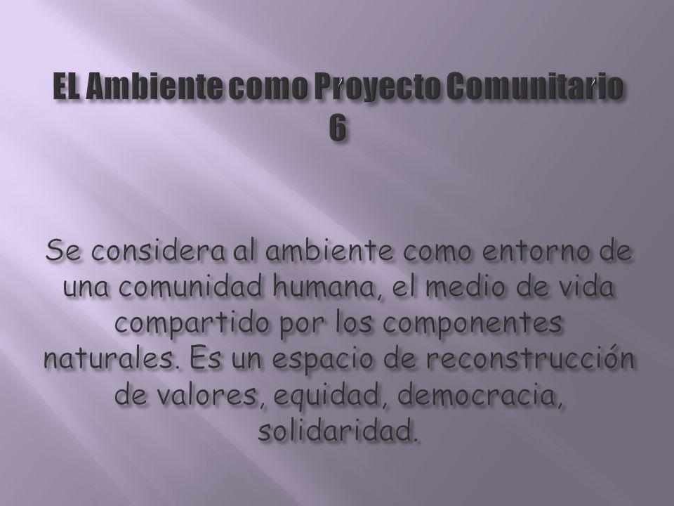 EL Ambiente como Proyecto Comunitario 6 Se considera al ambiente como entorno de una comunidad humana, el medio de vida compartido por los componentes naturales.