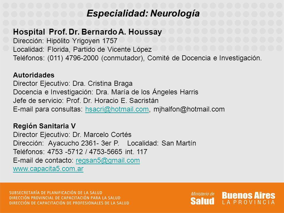 Especialidad: Neurología