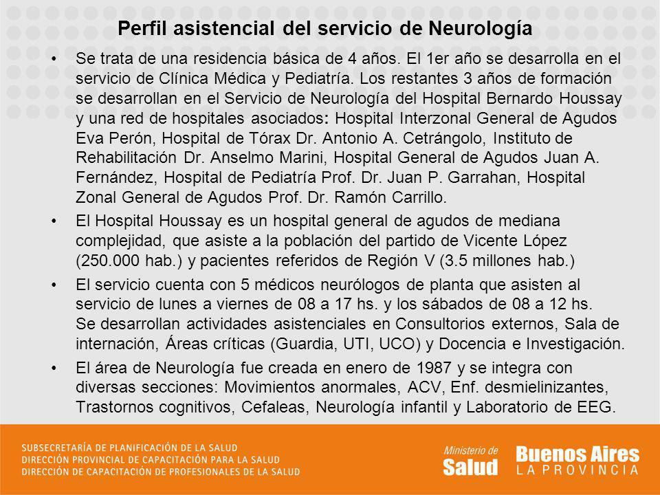 Perfil asistencial del servicio de Neurología