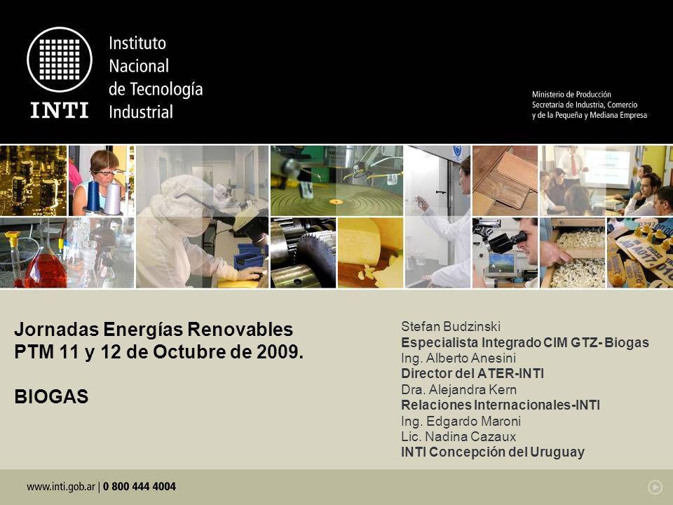 Jornadas Energías Renovables PTM 11 y 12 de Octubre de 2009. BIOGAS