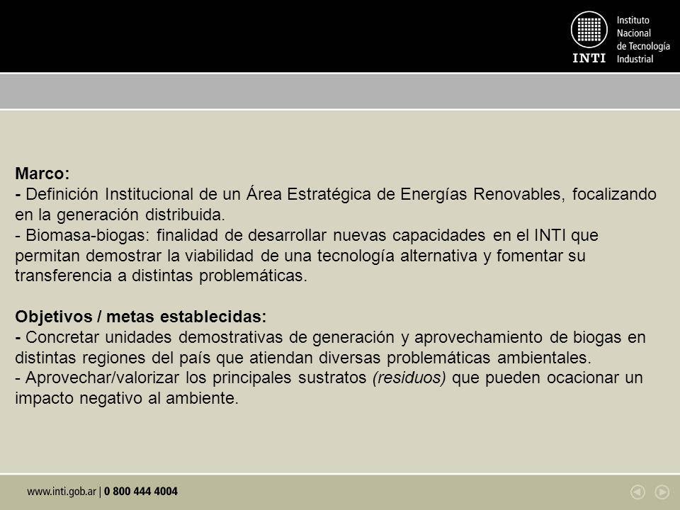 Marco: - Definición Institucional de un Área Estratégica de Energías Renovables, focalizando en la generación distribuida.