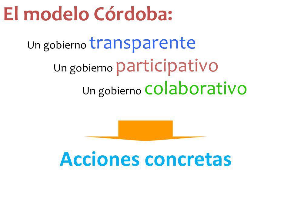 Acciones concretas El modelo Córdoba: Un gobierno transparente