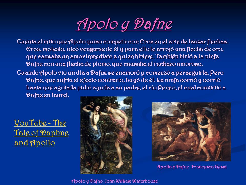 Apolo y Dafne YouTube - The Tale of Daphne and Apollo