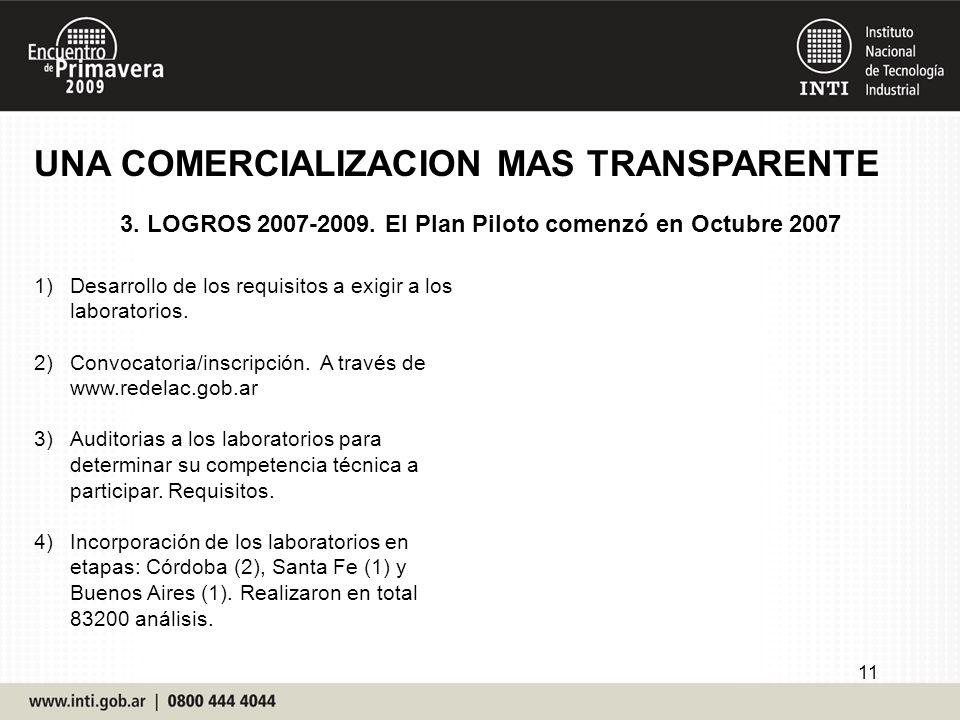 3. LOGROS 2007-2009. El Plan Piloto comenzó en Octubre 2007