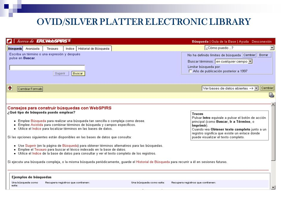 OVID/SILVER PLATTER ELECTRONIC LIBRARY