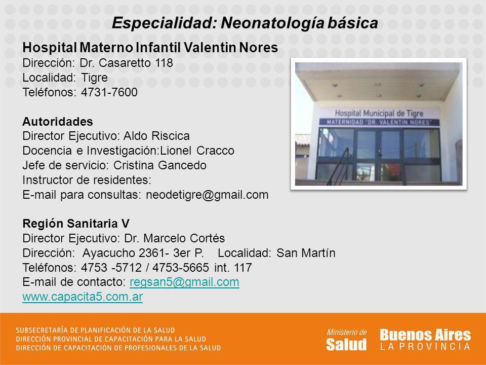 Especialidad: Neonatología básica
