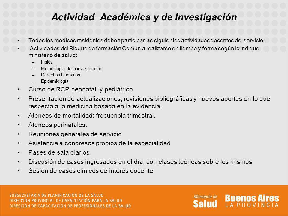 Actividad Académica y de Investigación