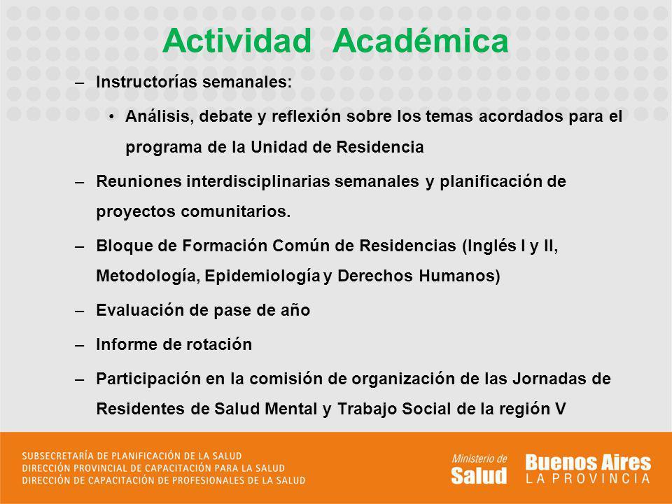 Actividad Académica Instructorías semanales: