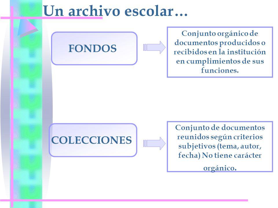 Un archivo escolar… FONDOS COLECCIONES
