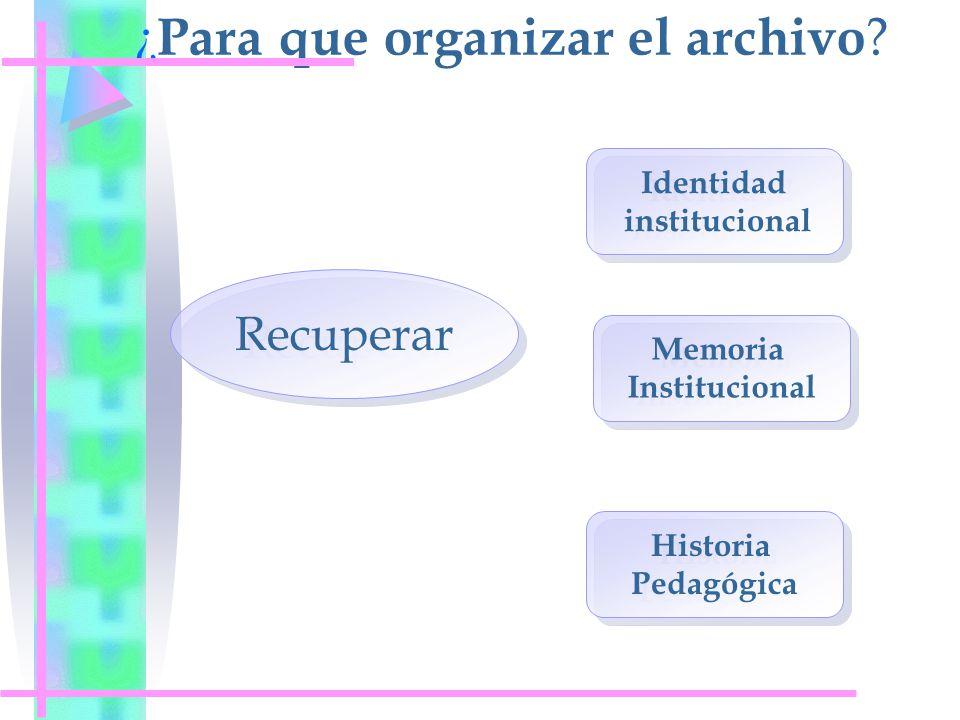 ¿Para que organizar el archivo