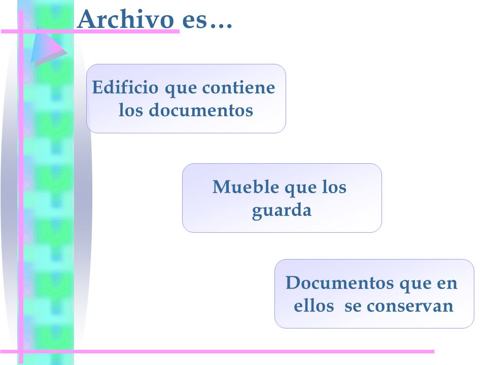 Archivo es… Edificio que contiene los documentos Mueble que los guarda