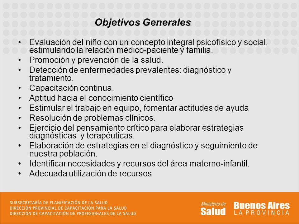 Objetivos Generales Evaluación del niño con un concepto integral psicofísico y social, estimulando la relación médico-paciente y familia.