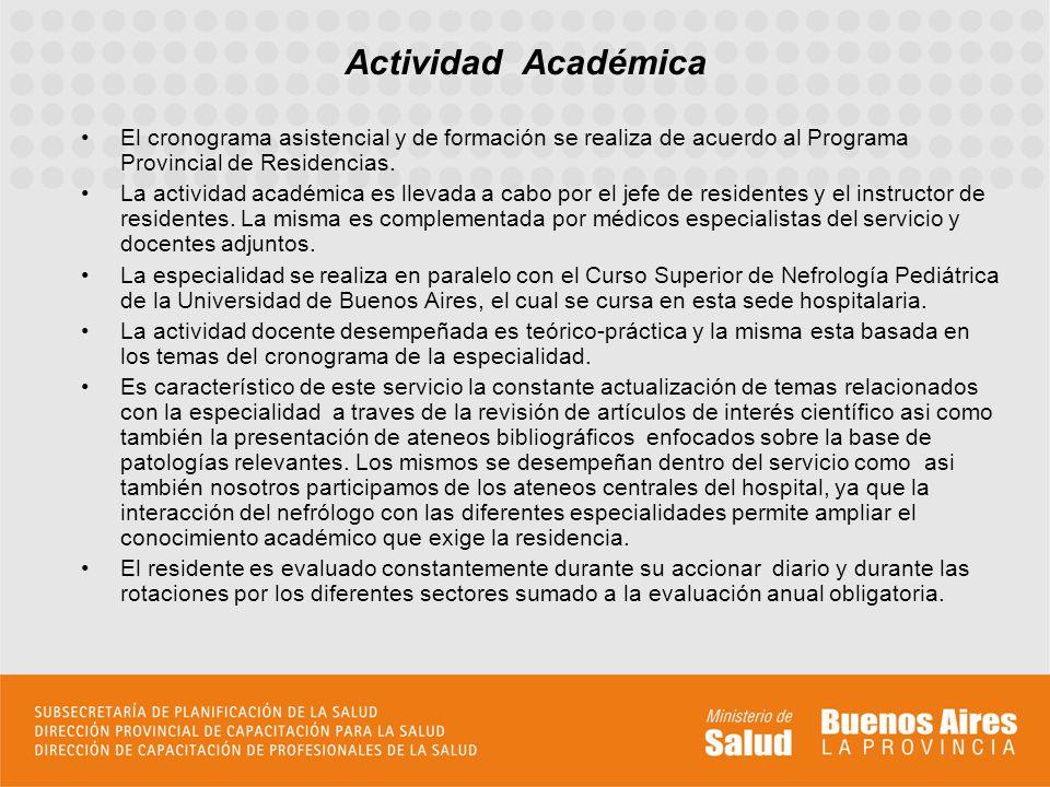 Actividad Académica El cronograma asistencial y de formación se realiza de acuerdo al Programa Provincial de Residencias.