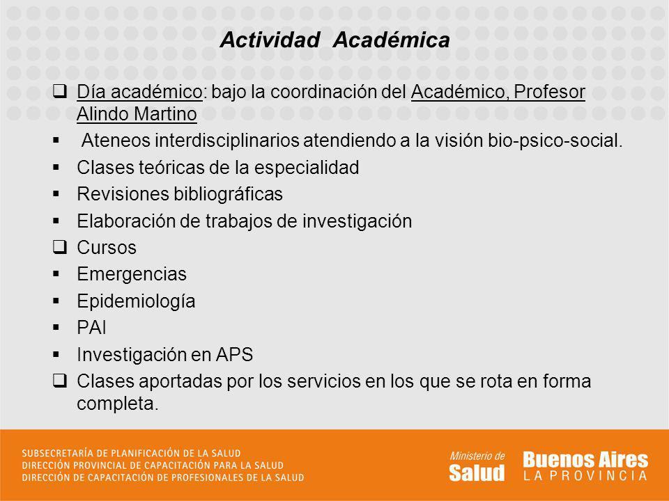 Actividad Académica Día académico: bajo la coordinación del Académico, Profesor Alindo Martino.