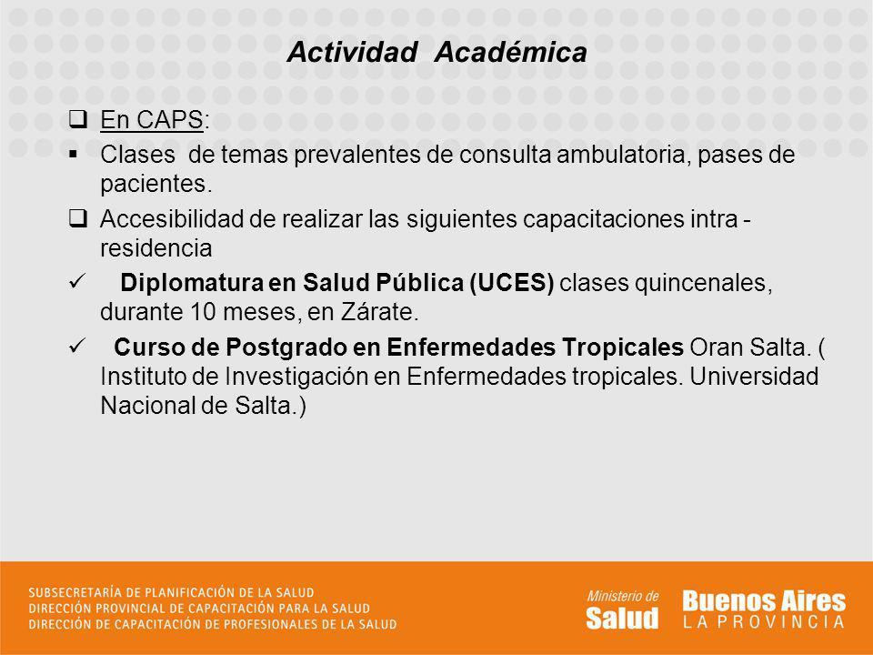Actividad Académica En CAPS: