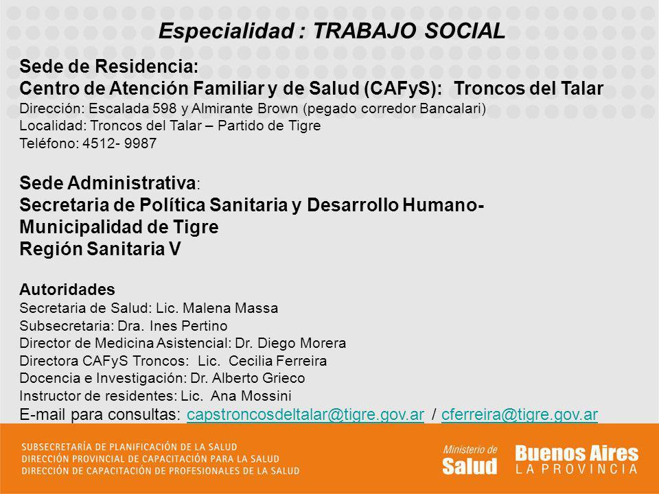 Especialidad : TRABAJO SOCIAL