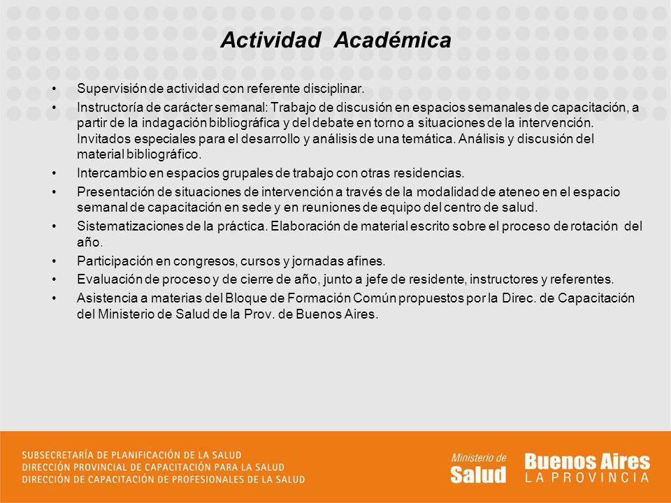 Actividad Académica Supervisión de actividad con referente disciplinar.