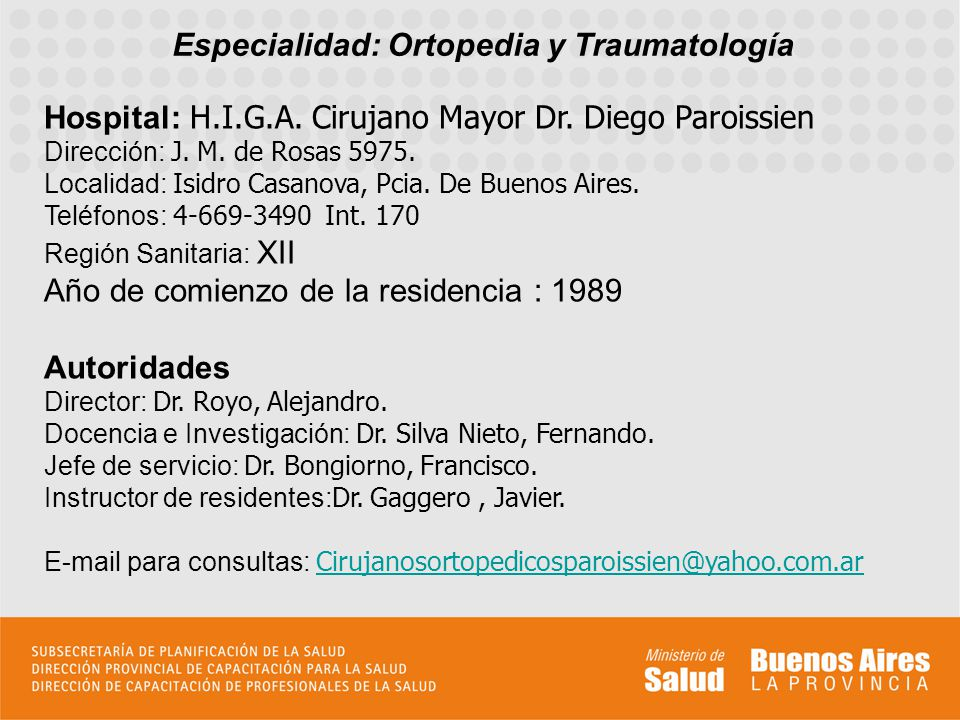 Especialidad: Ortopedia y Traumatología