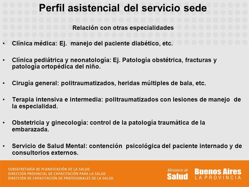 Perfil asistencial del servicio sede Relación con otras especialidades