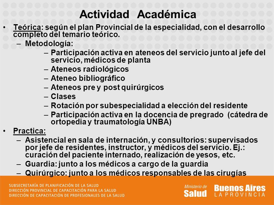 Actividad Académica Teórica: según el plan Provincial de la especialidad, con el desarrollo completo del temario teórico.