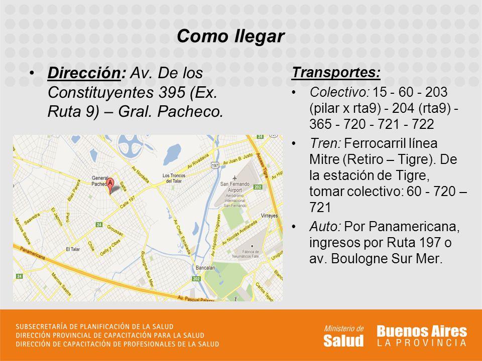 Como llegar Dirección: Av. De los Constituyentes 395 (Ex. Ruta 9) – Gral. Pacheco. Transportes: