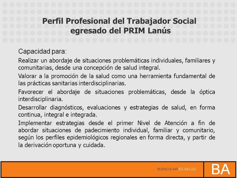 Perfil Profesional del Trabajador Social egresado del PRIM Lanús