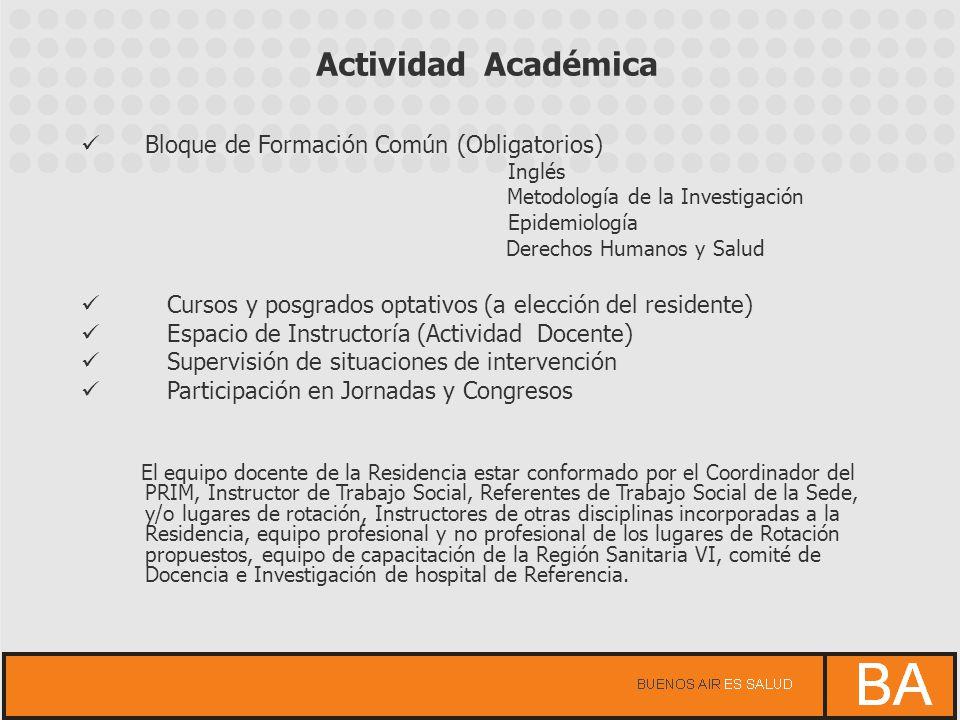 Actividad Académica Bloque de Formación Común (Obligatorios)