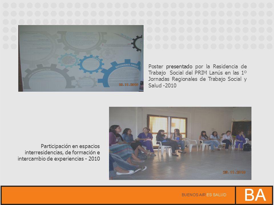 Poster presentado por la Residencia de Trabajo Social del PRIM Lanús en las 1º Jornadas Regionales de Trabajo Social y Salud -2010