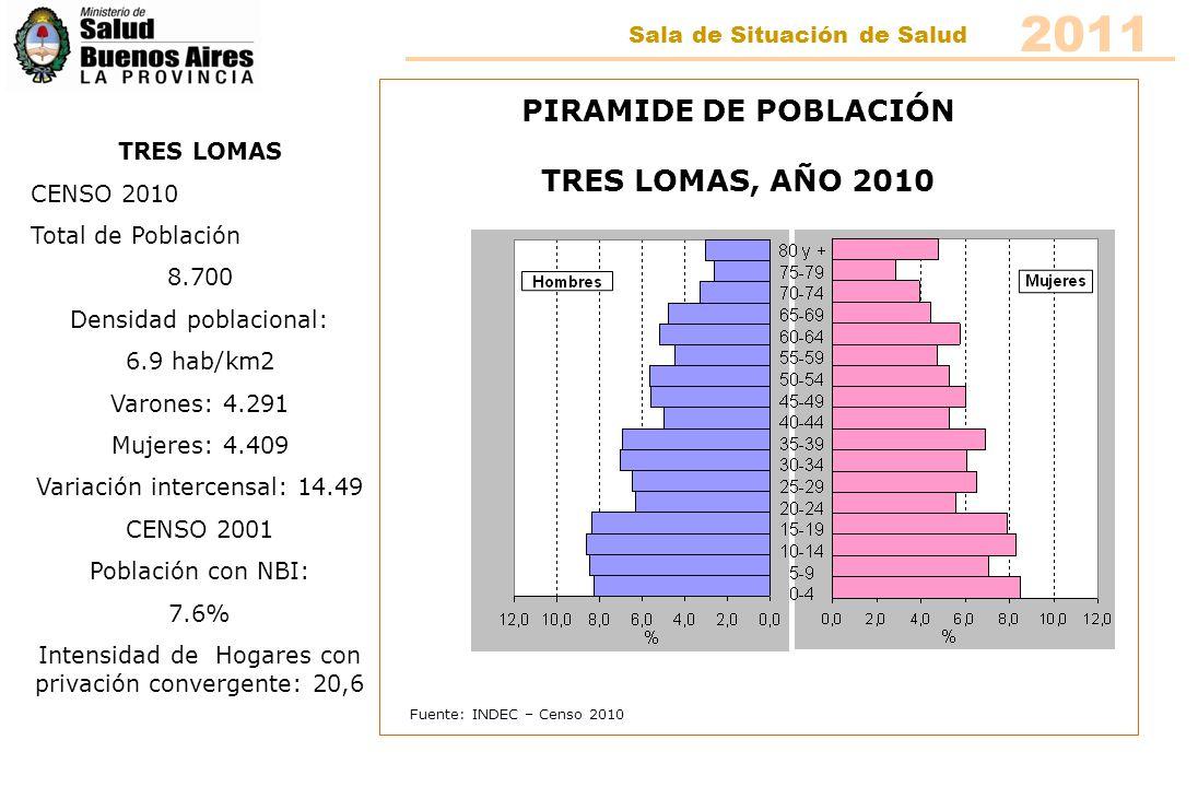 2011 PIRAMIDE DE POBLACIÓN TRES LOMAS, AÑO 2010