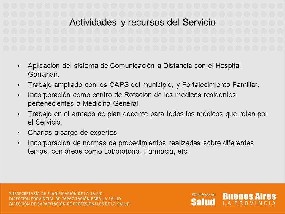 Actividades y recursos del Servicio