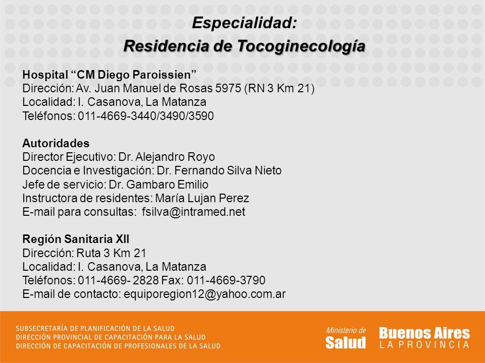 Residencia de Tocoginecología