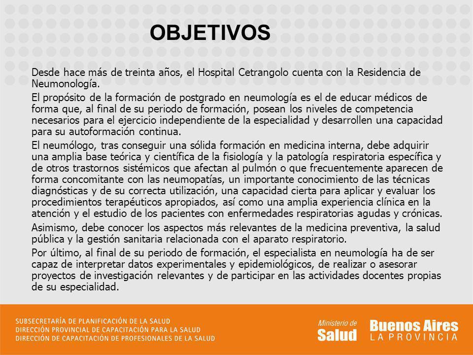 OBJETIVOS Desde hace más de treinta años, el Hospital Cetrangolo cuenta con la Residencia de Neumonología.