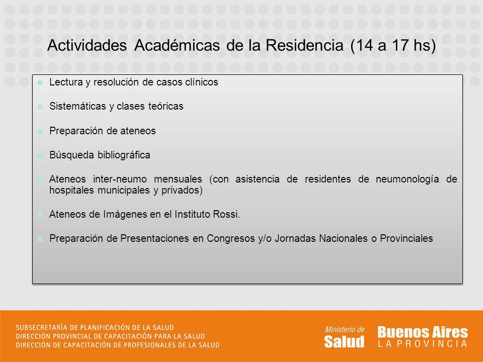 Actividades Académicas de la Residencia (14 a 17 hs)