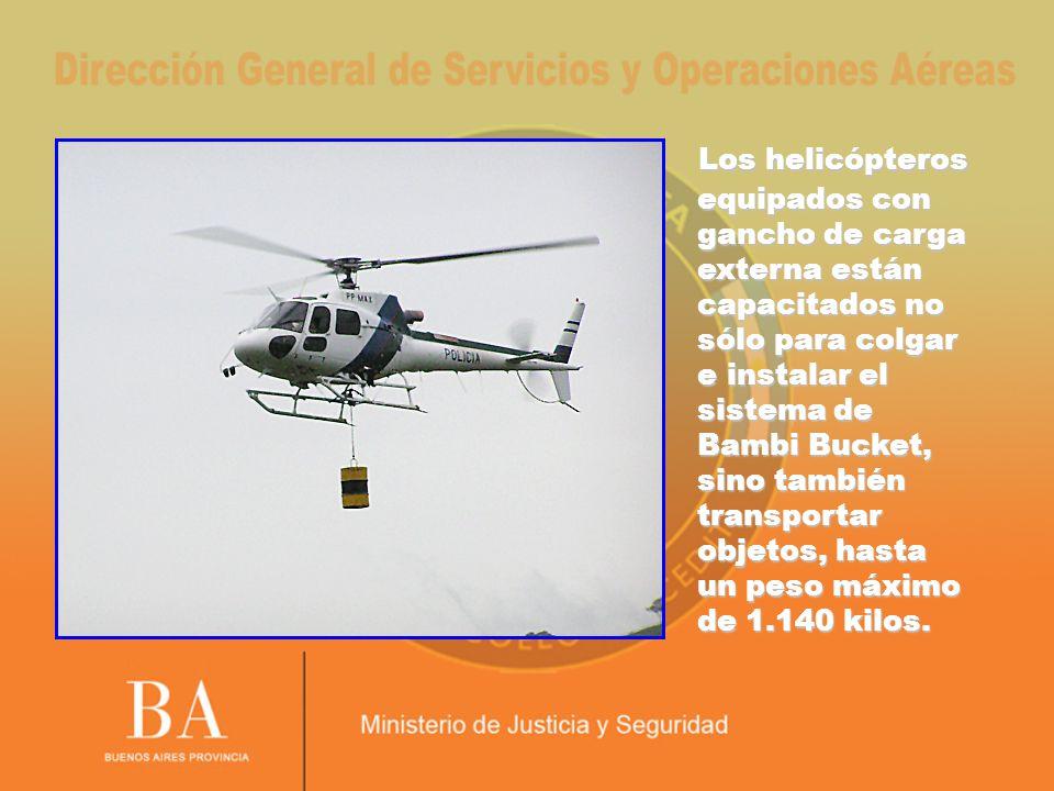Los helicópteros equipados con gancho de carga externa están capacitados no sólo para colgar e instalar el sistema de Bambi Bucket, sino también transportar objetos, hasta un peso máximo de 1.140 kilos.