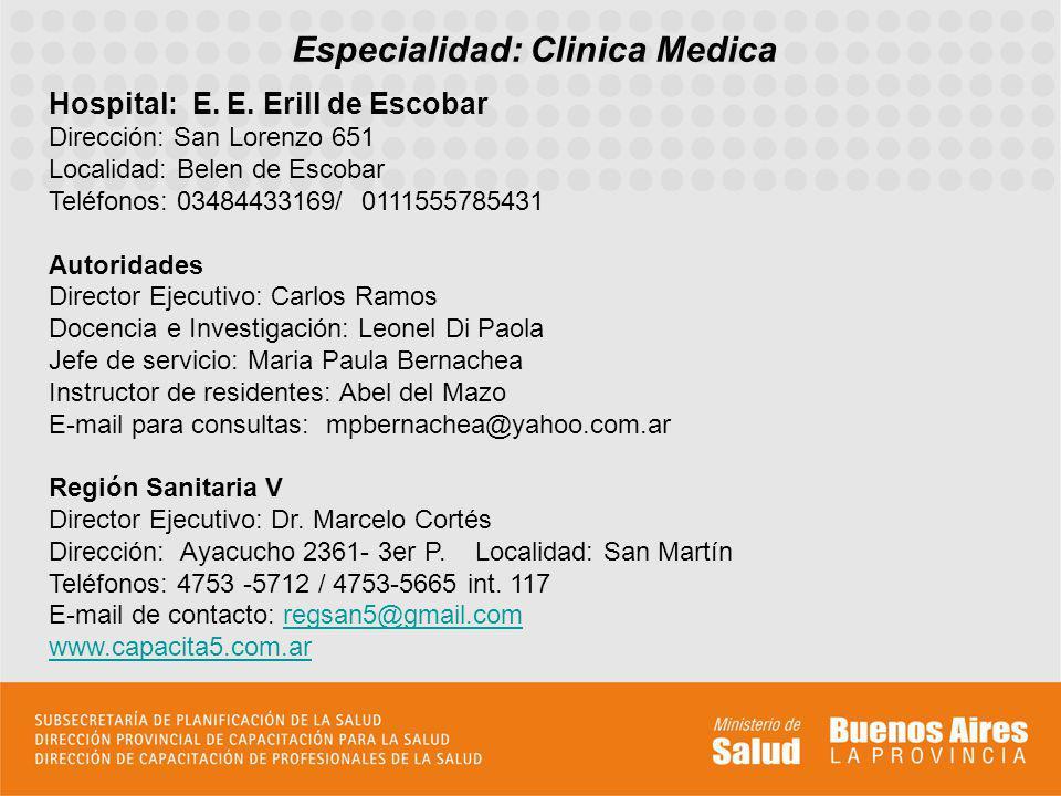 Especialidad: Clinica Medica