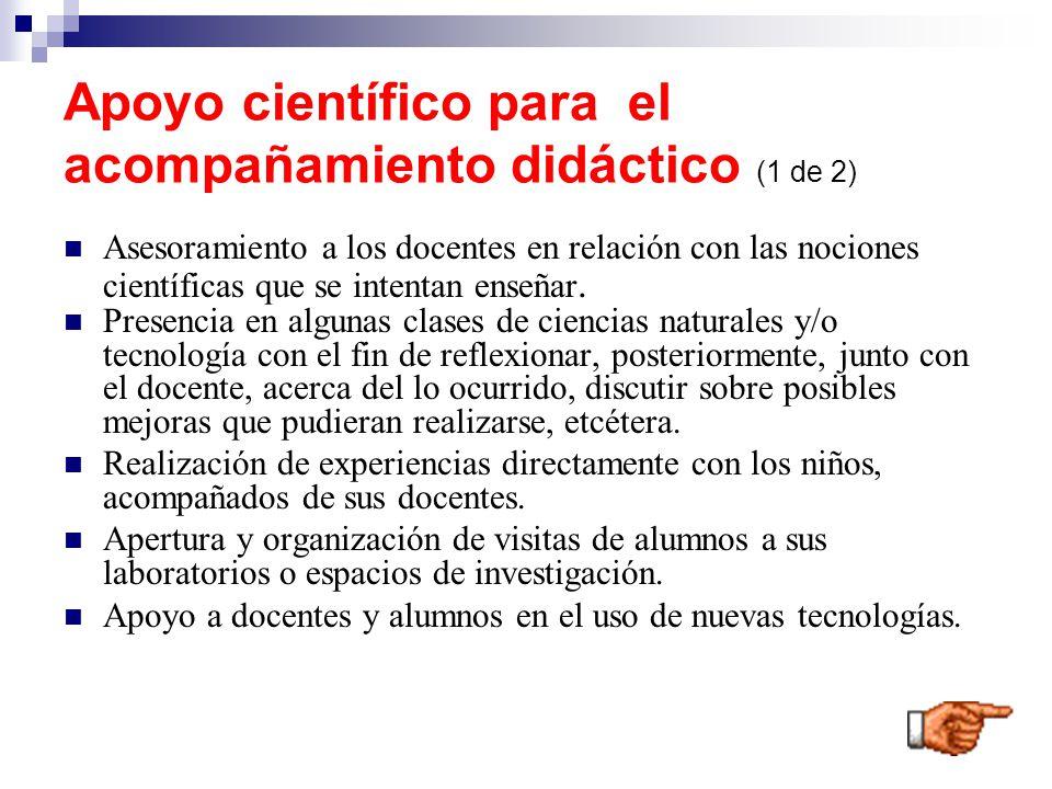 Apoyo científico para el acompañamiento didáctico (1 de 2)