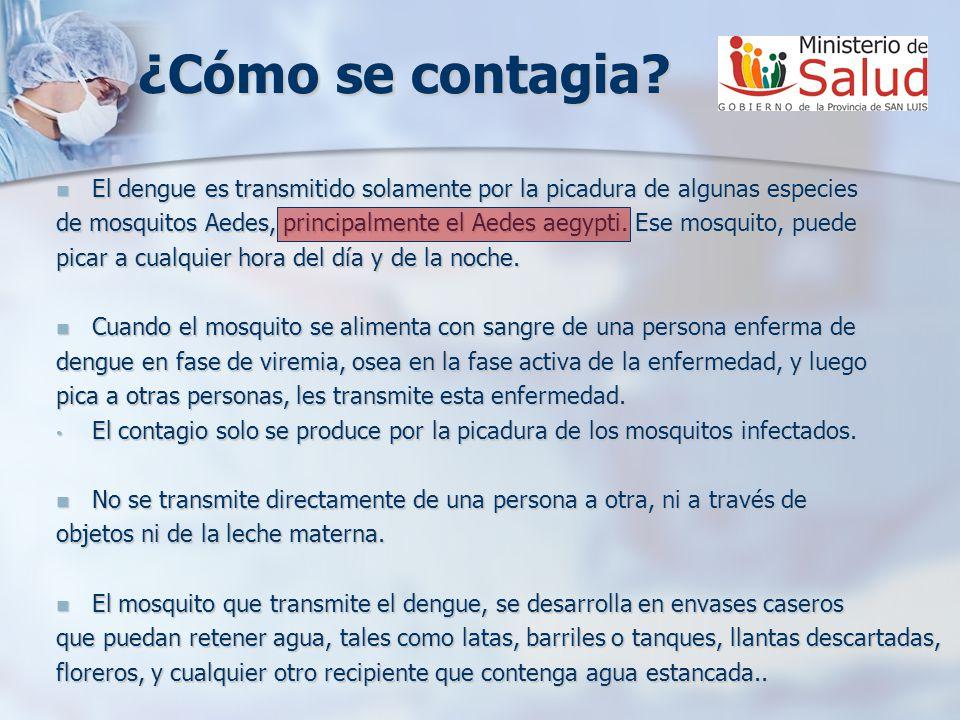 ¿Cómo se contagia El dengue es transmitido solamente por la picadura de algunas especies.